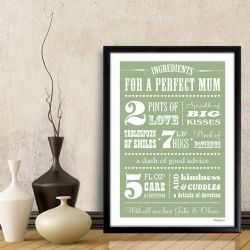 Ingredients for a Perfect Mum Personalised Print